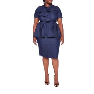 New xl denim peplum dress